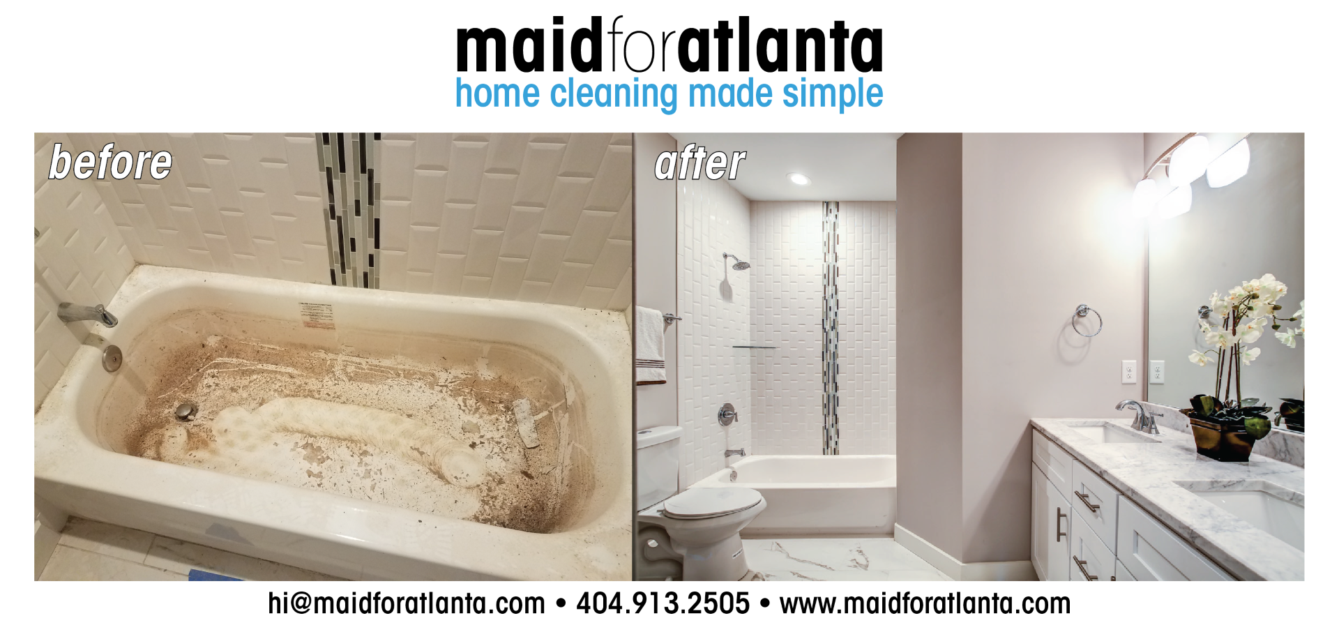 Maid For Atlanta - Before-After Dirty Tub