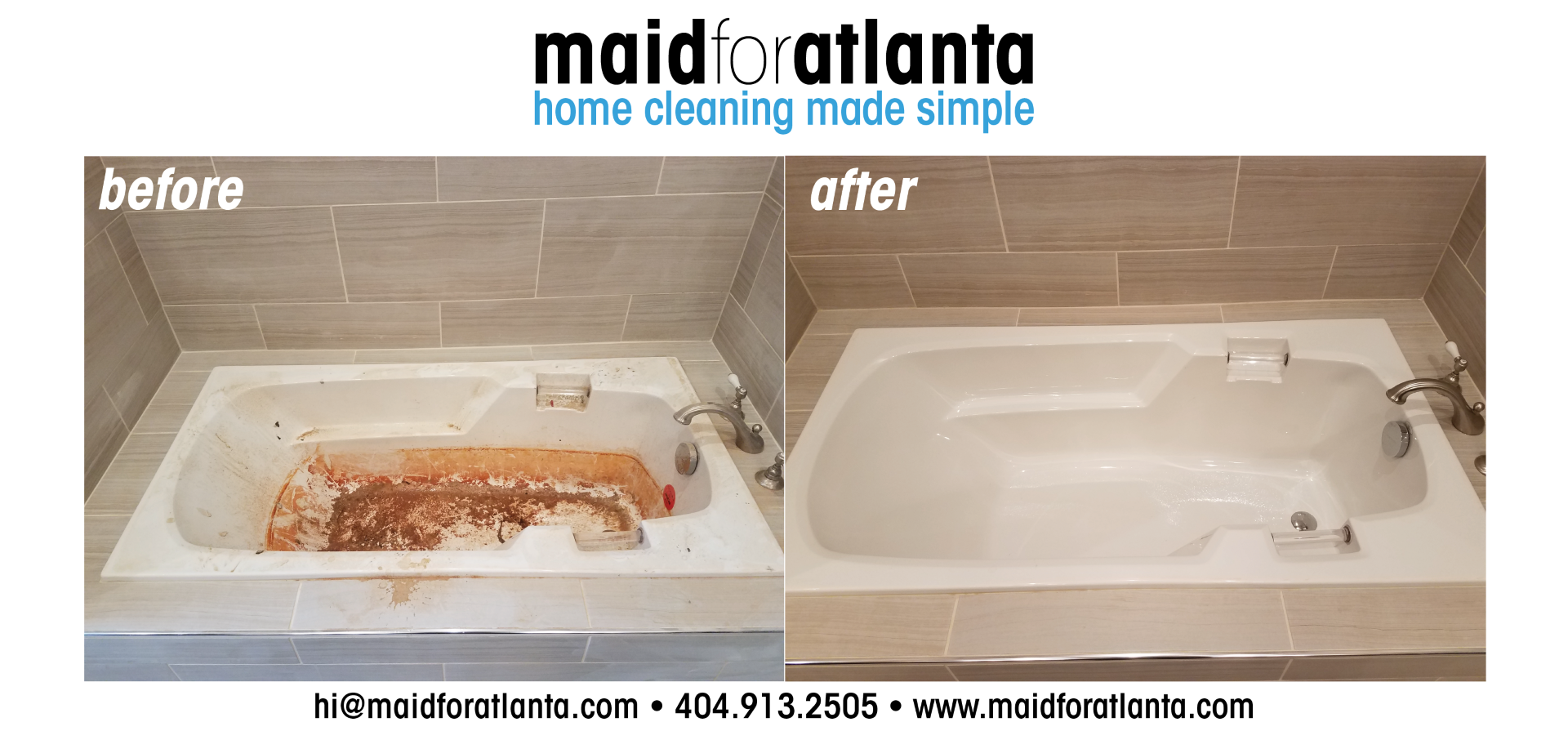 Maid For Atlanta - Before-After Mud Tub