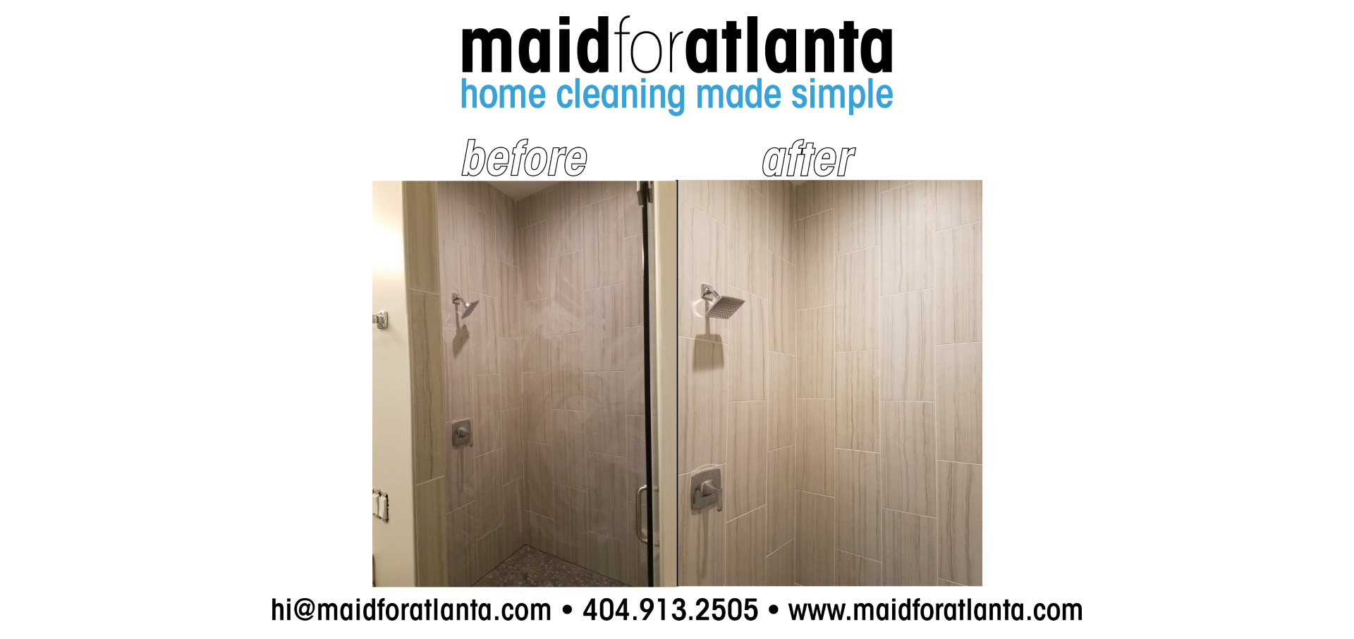 Maid For Atlanta - Before-After shower walls